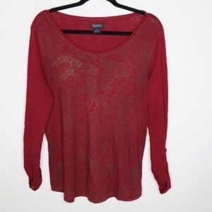 Lucky Brand Red Floral Roll Tab Henley T-Shirt